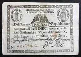 REPUBBLICA ROMANA ANNO 7° REPUBBLICANO 10 PAOLI  RETRO QUADRATO BEL BIGLIETTO Spl+ LOTTO 1880 - Italy