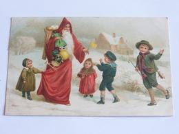 Pere Noel Jouets Avec Un Groupe D Enfants Dont Une Fillette Lui Tirant Son Manteau Cpa Dos Non Divise Paysage De Neige - Noël