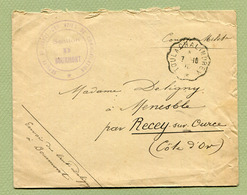 """AMBULANT - CONVOYEUR : """" TOUL A CHALINDREY """" 1916 + Cachet """" G.V.C. - Section De BOURMONT """" - Marcophilie (Lettres)"""