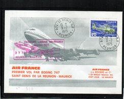 1ére. Liaison - St.Denis De La Réunion-Maurice Boeing 747 AF- 03/07/1975 - Luftpost