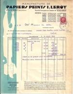 77 - SEINE & MARNE - PONTHIERRY - FACTURE/LETTRE - 1944 -  PAPIERS PEINTS I. LEROY - France