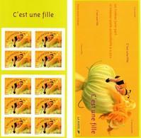 """FRANCE : Carnet """"C'est Une Fille"""" Non Plié - BC3634A  - """"LUXE"""" - 2004 - - Personnages"""