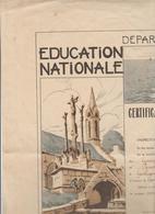 CERTIFICAT D'ETUDES PRIMAIRES SLEMENTAIRES 54 X 40 Cm ACADEMIE DE RENNES LE 16 Juin 1947 - Diplomi E Pagelle