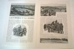 L'AUTOMOBILE E LA GUERRA - U. TEGANI 1914 ART. RITAGLIATO DA GIORNALE - Vecchi Documenti
