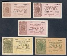 1+2 LIRE LUOGOTENENZA 1944 5 Biglietti  SUP/FDS LOTTO 1294 - [ 1] …-1946 : Kingdom