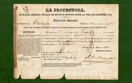 D-ES SEGURO DE ESCLAVOS 1858 La Protectora SCHIAVI ESCLAVES SLAVES SKLAVEN - Documents Historiques
