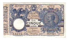 5 LIRE VITTORIO EMANUELE III° 19 09 1923 MALTESE ROSSOLINI SUP/FDS LOTTO 1339 - Italia – 5 Lire