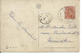 Fantasiekaart Met OCB 135 - Afstempeling GENT 1 / SEVENEEKEN (noodstempel) - 1915-1920 Albert I