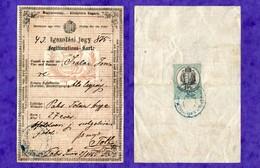 D-AT Österreichisch-Ungarischen Monarchie 1875 Legitimations-Karte -Igazolasi Jegy - Documents Historiques