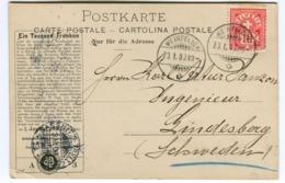 """Unfallsversicherungs-Aktienges. Winterthur WERBEKARTE 1900 Weinfelden """"BARQUE"""" - ZH Zürich"""