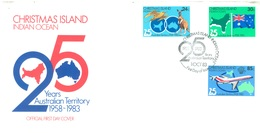 CHRISTMAS - FDC - 1.10.1983  - 25 YEARS AUSTRALIAN TERRITORY - Yv 179-181 - Lot 17316 - Christmas Island