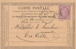 CARTE PRECUREUR. 10c N°54. 28 MARS 76. GARE DE NANCY   /  3 - Storia Postale