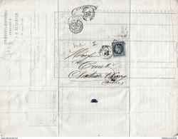 """LETTRE-BORDEREAU """"COMPTOIR D'ESCOMPTE D'ORLEANS/RICHAULT"""" 1868+TIMBRE NAPOLEON 3 - Oude Documenten"""