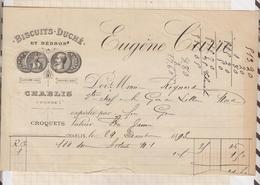8/94 Lettre Facture CARRE BISCUITS DUCHE CHABLIS / 1893 - France