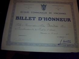 ECOLES  COMMUALES DE VINCENNES Billet D Honneur Annee 1938 - Diplomi E Pagelle