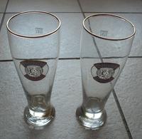 2 GRANDS VERRES A BIERE FLUTES - EMAILLES   -  SQHM 0, 5 L  - VALENTINS WEIZENBIER - Gläser