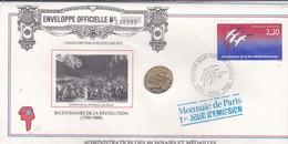 TIMBRE  Premier Jour  PARIS  1989--BICENTENAIRE DE LA REVOLUTION + MONNAIE--voir 2 Scans - Révolution Française