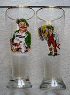 2 GRANDS VERRES A BIERE - FLUTE EMAILLEES - 0, 5 L  - Très Beau Décor BAVIERE - Glasses