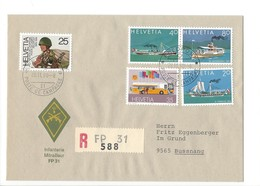 21161 - Militaria Suisse  Cover Feldpost Mitrailleur FP 31 R588 Pour Bussnang 28.11.1990 - Suisse