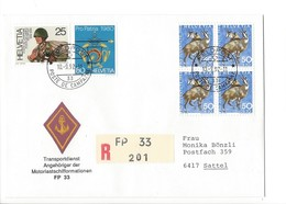 21163 - Militaria Suisse  Cover Feldpost Transportdienst FP 33 R 201 Pour 6417 Sattel 10.09.1992 Bloc Pro Juventute 1966 - Suisse