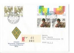 21167 - Militaria Suisse  Cover Feldpost Infanterie FP 61 R 081 Pour 9500 Wil 11.02.1992 - Suisse