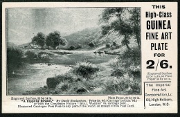 RB 1204 - Early Advertising Postcard - Guinea Fine Art Plate For 2/6d - Advertising