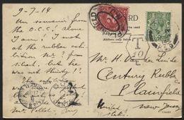 Postcard To USA + Postage Due PLAINFIELD 1914 (943) - Brieven En Documenten
