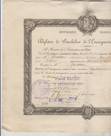 DIPLOME DE BACHELIER DE L'ENSEIGNEMENT SECONDAIRE N°169 DELIVRE PAR ACADEMIE DE PARIS LE 12/09/1930 - Diplomi E Pagelle