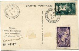 FRANCE CARTE POSTALE N°01317 AFFRANCHIE AVEC LES N°337/338 JEAN MERMOZ OBLITERATION EXPOSITION PHIL. 13-5-37 POITIERS - France