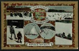 "RB 1208 -  1909 Canada Postcard - Winter Sports Multiviews - Good Toronto ""C"" Duplex Cancel - Winter Sports"