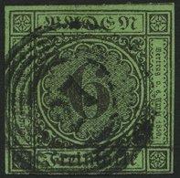 BADEN 3b O, 1851, 6 Kr. Schwarz Auf Gelbgrün, Nummernstempel 27 (DONAUESCHINGEN), Vollrandig, Pracht - Baden