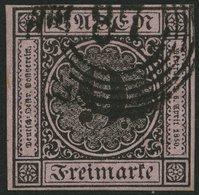 BADEN 4b O, 1851, 9 Kr. Schwarz Auf Rötlichkarmin, Nummernstempel 87, Allseits Breitrandig, Pracht - Baden