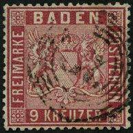 BADEN 12 O, 1860, 9 Kr. Karmin, üblich Gezähnt Pracht, Mi. 220.- - Baden