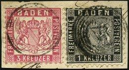 BADEN 13a,18 BrfStk, 1862, Mischfrankatur: 1 Kr. Schwarz Und 3 Kr. Hellrot, Prachtbriefstück, Gepr. Flemming - Baden