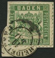 BADEN 21a BrfStk, 1862, 18 Kr. Grün, K2 HEIDELBERG, Auf Briefstück, Feinst (unten Kleines Rißchen), Kurzbefund Brettl, M - Baden
