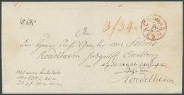 BAYERN ANSBACH, Roter Fahrpost-K2, Auf Gesiegeltem Paketbegleitbrief (1800) Mit Taxvermerken Nach Roedelheim, Pracht - Germany