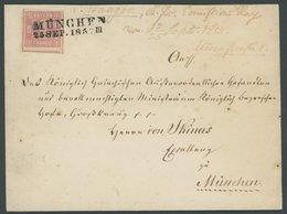 BAYERN 3Ia BRIEF, 1852, 1 Kr. Rosa, Allseits Riesenrandig Mit Teil Der Nachbarmarke, Auf Ortsbrief Mit L2 MÜNCHEN, Dekor - Bavaria