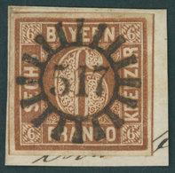 BAYERN 4II BrfStk, 1850, 6 Kr. Dunkelbraunorange, Type II, Idealer Zentrischer MR-Stempel 517, Luxusbriefstück - Bavaria