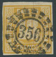 BAYERN 7 O, 1854, 18 Kr. Gelblichorange, Zentrischer Offener Mühlrad-Stempel 356, Pracht, Mi. 240.- - Bavaria