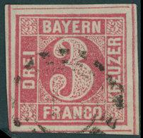 BAYERN 9 O, 1862, 3 Kr. Rosa Mit 4 Vollständigen Schnittlinien!, Offener Mühlradstempel, Kabinett - Bavaria