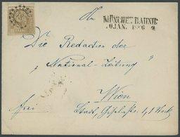 BAYERN 11 BRIEF, 1866, 9 Kr. Ockerbraun, Breitrandiges Oberrandstück Auf Brief Mit Nebenstempel MÜNCHEN-BAHNHOF Nach Wie - Bavaria