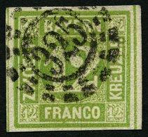 BAYERN 12 O, 1862, 12 Kr. Dunkelgelbgrün, Offener MR-Stempel 325, Breit-riesenrandig, Pracht, Gepr. Pfenninger, Mi. (100 - Bavaria