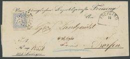 BAYERN 16 BRIEF, 1867, 16 Kr. Ultramarin Mit Offenem MR-Stempel 137 Auf Doppelt Verwendeter Briefhülle Aus FREYSING Nach - Bavaria