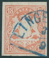 BAYERN 19 O, 1867, 18 Kr. Dunkelzinnoberrot Mit Blauem Segmentstempel!, Kabinett, Gepr. Schmitt - Bavaria