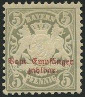 BAYERN P 8 *, 1885, 5 Pf. Türkisgrau, Wz. 3, Falzrest, Pracht, Mi. 70.- - Bavaria