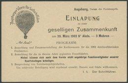 BAYERN P 55II BRIEF, 1902, Privatpostkarte Bayern 2 Pf. (P 55II) Des Augsburger Verein Für Luftschifffahrt Ballon Gut La - Bavaria