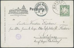 BAYERN PP 15C12/018 BRIEF, Privatpost: 1899, 5 Pf. Wappen Allgemeine Deutsche Sportausstellung, Vordruckfarbe Schwarz, P - Bavaria