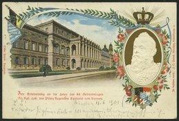 BAYERN PP D1/05 BRIEF, Privatpost: 1901, 80. Geburtstag, Prägekarte Königsbau München, Ohne Ortsangabe, Stempel MÜNCHEN  - Bavaria