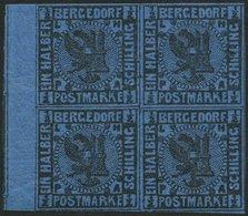 BERGEDORF 1b VB *, **, 1867, 1/2 S. Schwarz Auf Blau Im Randviererblock, Falzreste, Ein Wert Postfrisch, Pracht - Bergedorf