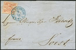 BRAUNSCHWEIG 3 BRIEF, 1852, 1852, 3 Sgr. Orangerot, Allseits Breit- Bis überrandig Mit Blauem K2 BRAUNSCHWEIG Auf Brief  - Brunswick
